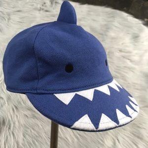 Gap baby boy blue shark hat cap with teeth on brim